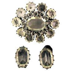 Austrian Clear Crystal Pin Brooch w/ Clip Earrings Set