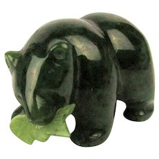 Estate Hand-Carved Solid Jade Bear Figurine w/ Salmon Catch