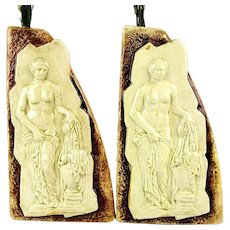 Pair 1950s Marmaca Italian Majolica Pottery Vase Candle Holders w/ Aphrodite