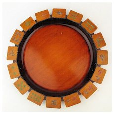 Vintage 1940s Mah Jong Wood Tray Snack Plate Carved Tiles