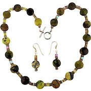 Vintage Stone - Crystal Necklace Earrings Set
