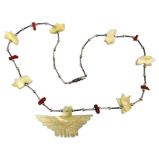 Silver Carved Mother-of-Pearl Eagle Fetish Necklace w/ Coral
