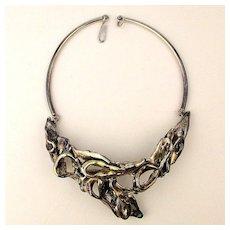 Brutalist 925 Sterling Silver Puffy Freeform Necklace Signed