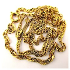 Estate 18K Yellow Gold Twisting Necklace Chain - 18 Inches
