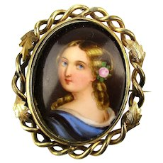 Large Victorian Gold-Filled Pin Brooch w/ TWO Swiveling Portrait Paintings