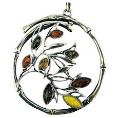 Big Sterling Silver Multi Amber Floral Pendant Necklace