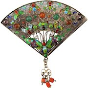 Old Sterling Jeweled Chinese Filigree Enameled Butterfly Fan Pin Brooch