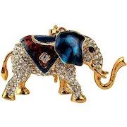 Patriotic Rhinestone Elephant Pendant Necklace Figurine
