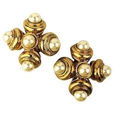 Big French Jacky de G. Bold Runway Clip Earrings Faux Gold n Pearls