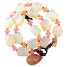 Vintage Opaline Glass w/ Rose Quartz Necklace Faceted Beads 925