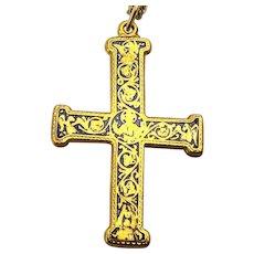 1985 MMA Metropolitan Museum of Art Cross Pendant Gold-Filled Necklace