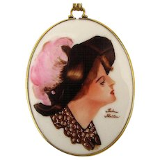 Signed Victorian Painted Porcelain Gibson Style Girl Pendant G.F. Necklace