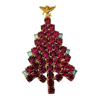 Big Red Crystal Rhinestone Christmas Tree Pin Brooch Angel Topper