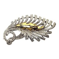 Vintage 1950s KIGU of London Marcasite Floral Pin Brooch