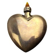 Sterling Silver Heart Figural Perfume Snuff Bottle
