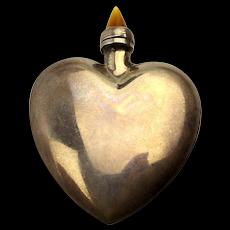 Sterling Silver Heart Figural Perfume Snuff Bottle