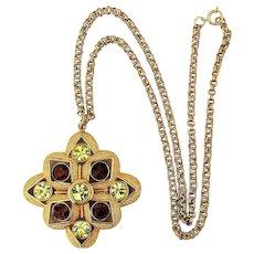 Signed SARAH Jeweled Pendant Necklace