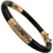 14K Etched Gold Black Jade Bangle Bracelet Hinged