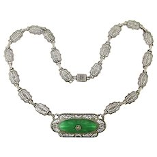Classic Art Deco Filigree Rhodium Plated Necklace w/ Czech Glass
