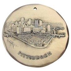 Vintage Wendell August Etched Pendant Key Ring PITTSBURGH