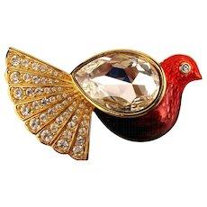 Swarovski Crystal Enamel Bird Pin Brooch w/ Jelly Belly Wing