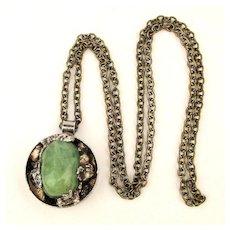 Modernist Dansk Smykkekunst Green Stone Pendant Necklace - Handmade