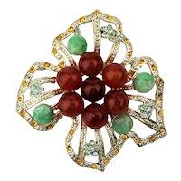 Vintage Rhinestone Flower Pin w/ Free Form Petals