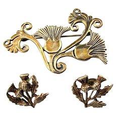 Scottish Sterling Silver Shetland Thistle Pin Brooch w/ Pierced Earrings Malcolm Gray