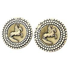 Modernist SWANK Pegasus Horse Cufflinks