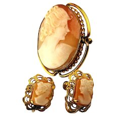 Vintage Carved Shell Cameo Pin w/ Earrings Set - Gold-Filled Beauties