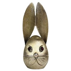 Vintage NAPIER Rabbit Bunny Head Coin Bank w/ Jewel Eyes