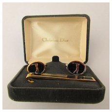 Vintage Christian DIOR Golf Cufflinks Clasp Enamel Set in Box