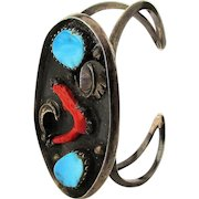 Early Mexican Sterling Silver Cuff Bracelet - Red Coral & Turquoise