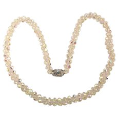 Long Two Strand Crystal Bead Necklace w/ Rhinestone Clasp