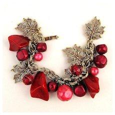 Vintage Red Lucite Charm Bracelet w/ Gilt Leaves & Bead Dangles