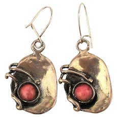 Modernist Sterling Silver Coral Handwrought Earrings Pierced