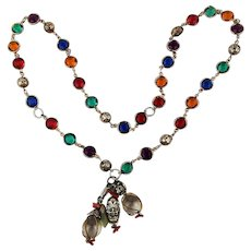 Colorful Jeweled Chain w/ Crystal Ball Dangles Necklace
