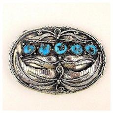 Old Handmade Sterling Silver Navajo Belt Buckle 5 Morenci Turquoise Stones