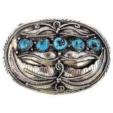 Old Handmade Sterling Silver Navajo Belt Buckle 5 Morenci Turquoise Stones