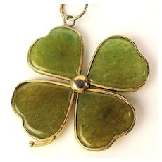 Lucky Gold-Filled Jade Shamrock Four Leaf Clover Pendant Necklace