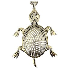 Big Signed ALAN Articulated Turtle Pendant Necklace