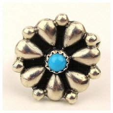 Vintage Navajo Sterling Silver Turquoise Ring - Delgarito