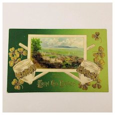 1910 St. Patrick's Day Postcard Erin Go Bragh Irish Pipes - Shamrocks