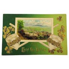 1910 St. Patrick's Day Postcard Erin Go Bragh Irish Pipes - Shamrocks