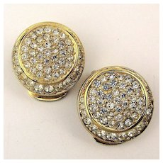 Vintage Christian Dior Faux Diamond Clip Earrings