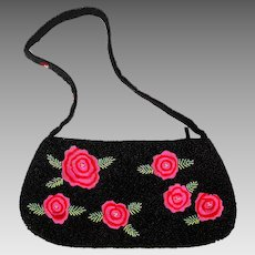 Vintage Handbag Purse Beaded AND Embroidered w/ Roses
