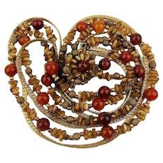 Vintage Hattie Carnegie Multi Strand Bead n Chain Necklace w/ Carnelian