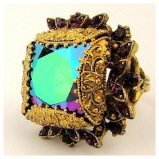 Florenza Big Etruscan Ring w/ Multi Color Watermelon Rhinestone
