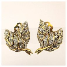 1940s Joseph Mazer Crystal Rhinestone Clip Earrings