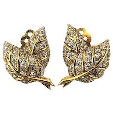 1940s Joseph Mazer Crystal Rhinestone Clip Earrings